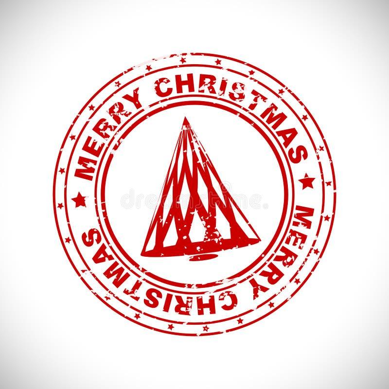De vrolijke rubberzegel van Kerstmis vector illustratie