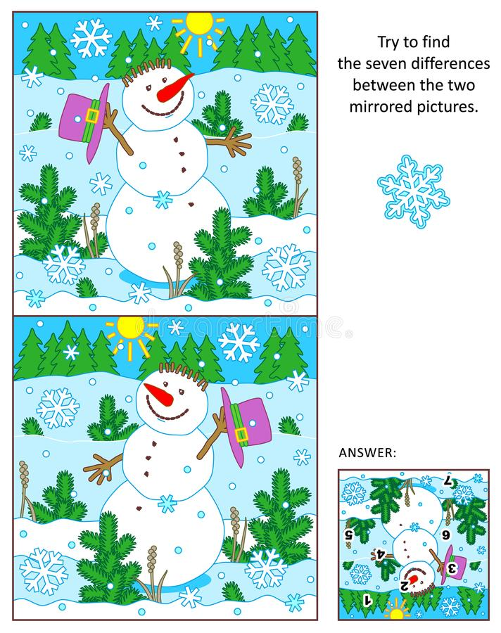 De vrolijke sneeuwman vindt de verschillen tussen het weerspiegelde beeldenraadsel vector illustratie