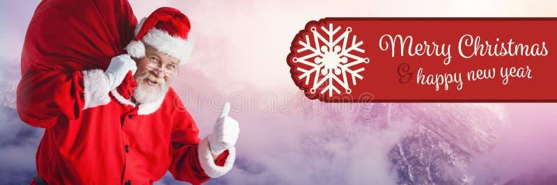 De vrolijke tekst en Santa Claus van het Kerstmis Gelukkige Nieuwjaar in de Winter met zak royalty-vrije stock foto