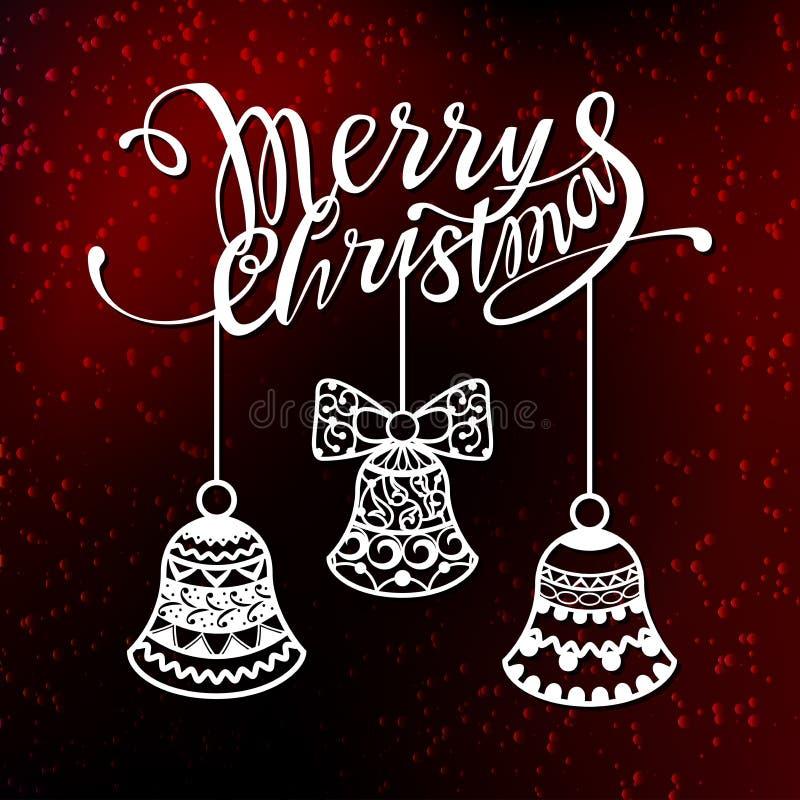 De vrolijke tekst van het Kerstmisontwerp voor laserknipsel Nieuwe jaar kalligrafische inschrijving, verfraaid de winterelement G royalty-vrije illustratie