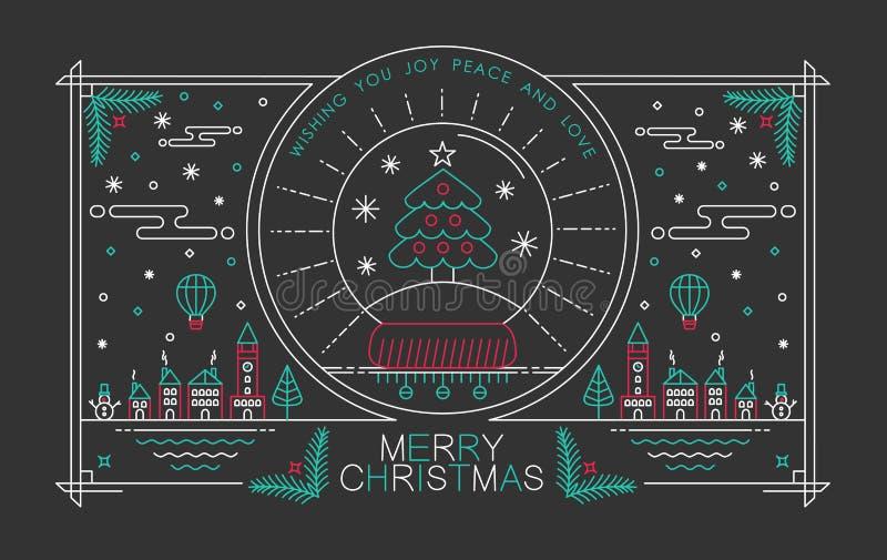 De vrolijke van de affichekerstmis van het Kerstmisoverzicht stad van de de boomsneeuw royalty-vrije illustratie