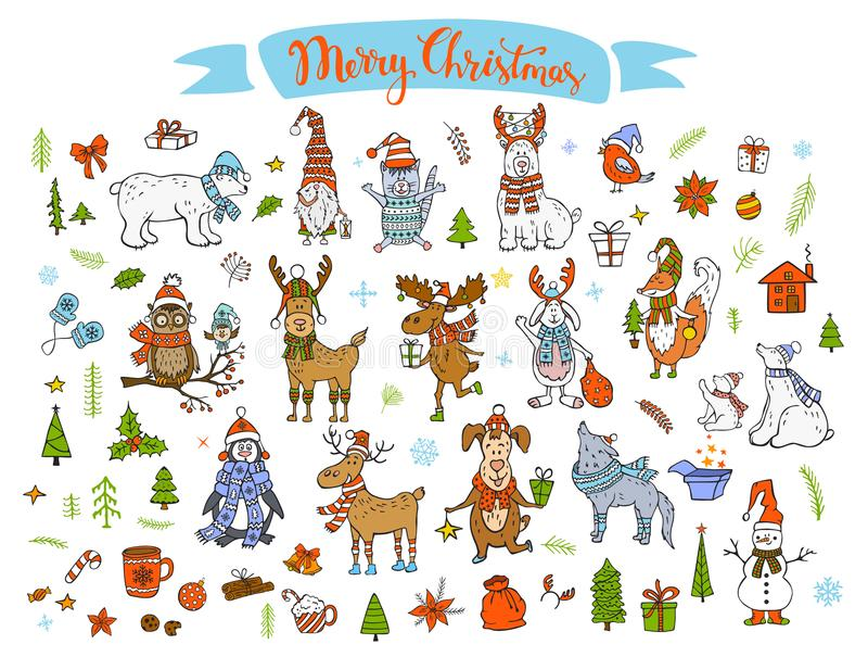 De vrolijke van het de winterbeeldverhaal van het Kerstmis gelukkige nieuwe jaar leuke grappige dieren royalty-vrije illustratie