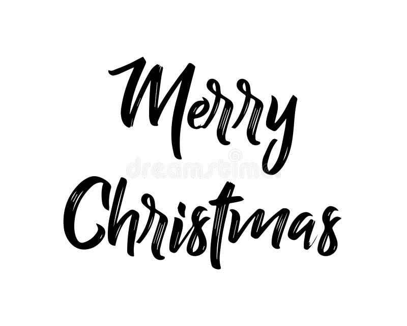 De vrolijke van letters voorziende banner van de Kerstmishand Geïsoleerdj op witte achtergrond Vector illustratie vector illustratie