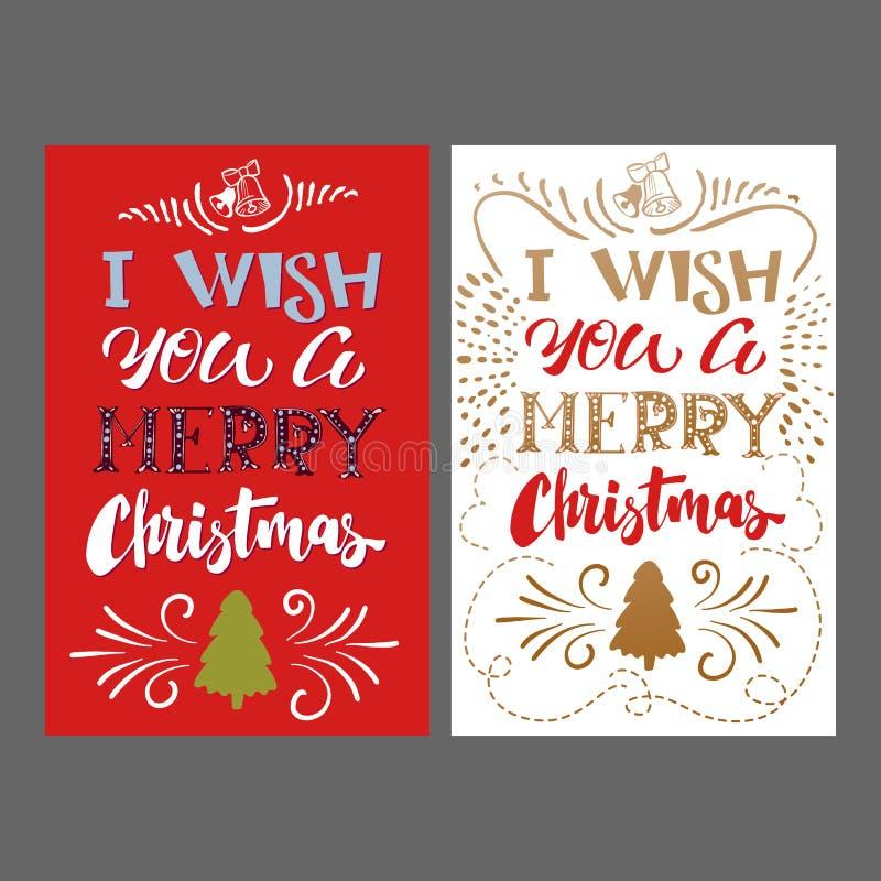 De vrolijke Van letters voorziende kaart van de Kerstmishand vector illustratie