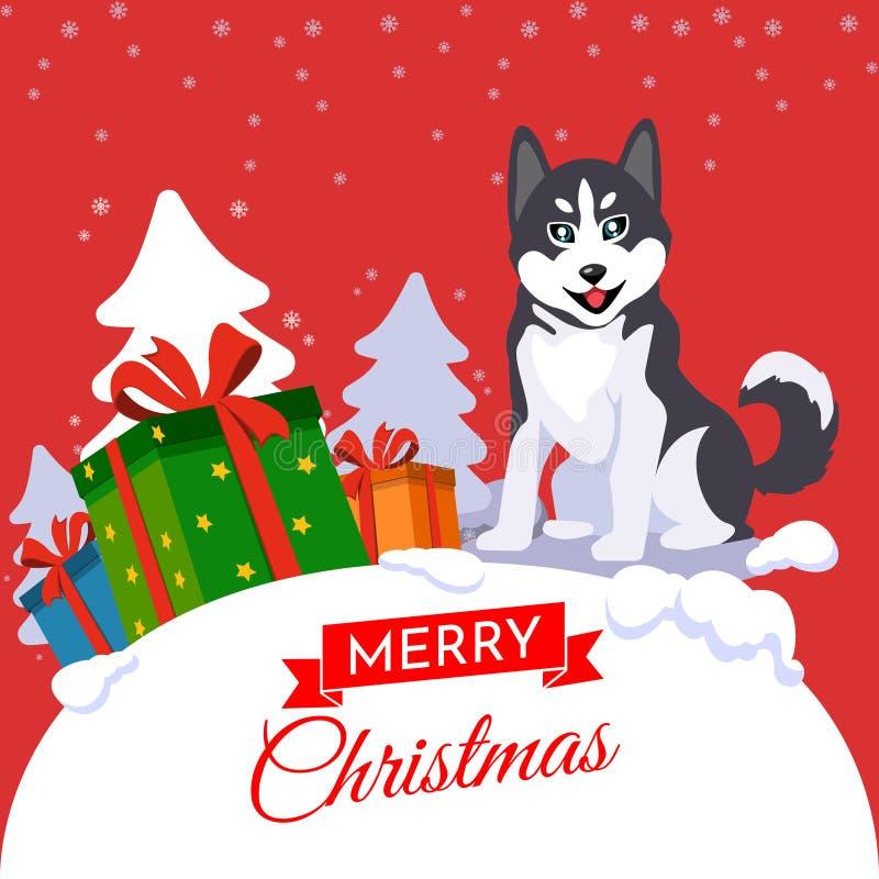 De vrolijke vector van Kerstmis Jaar van de Hond stock illustratie