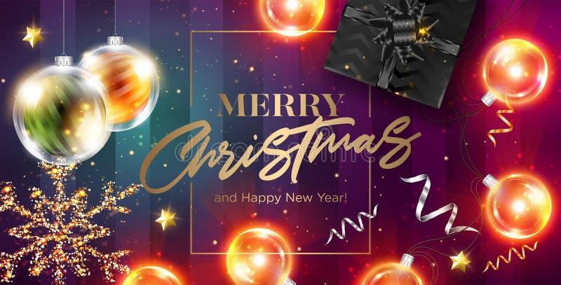De vrolijke vectorkaart van Kerstmis Gelukkig Nieuwjaar 2019 groeten royalty-vrije illustratie