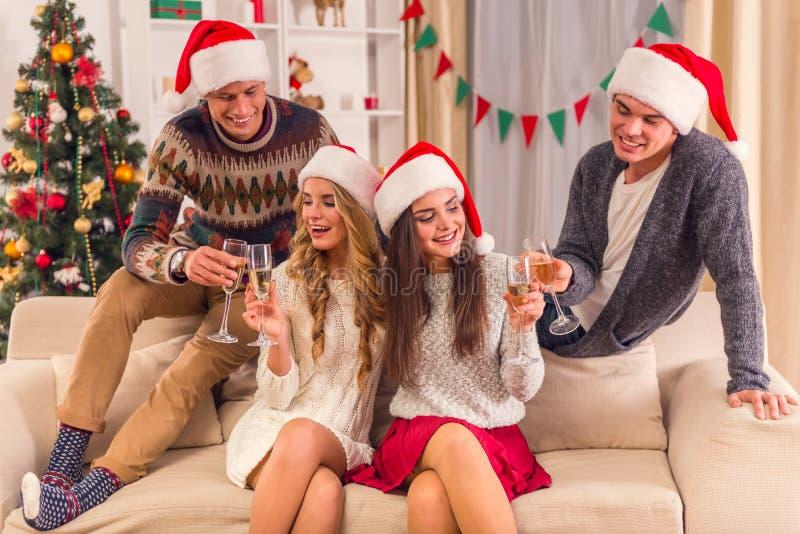 De vrolijke viering van Kerstmis stock foto