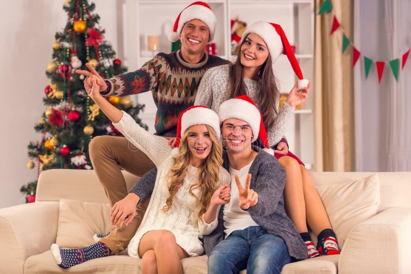 De vrolijke viering van Kerstmis stock afbeelding