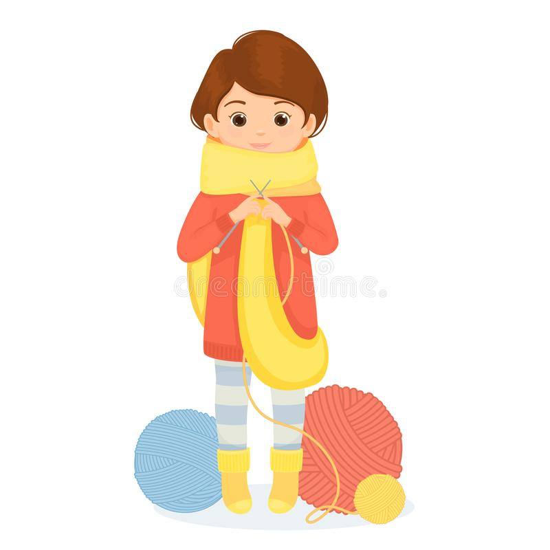 De vrolijke vrouw breit een sjaal royalty-vrije illustratie