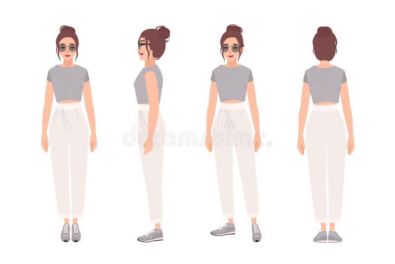 De vrolijke vrouw kleedde zich in modieuze sportkleding Mooi meisje in in kleren en tennisschoenen Vrouwelijk beeldverhaalkarakte royalty-vrije illustratie