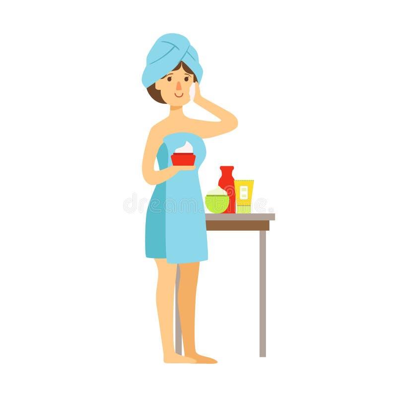 De vrouw in badhanddoek past room op haar gezicht en schoonheid toe en houdt room in haar hand Kleurrijk beeldverhaalkarakter royalty-vrije illustratie