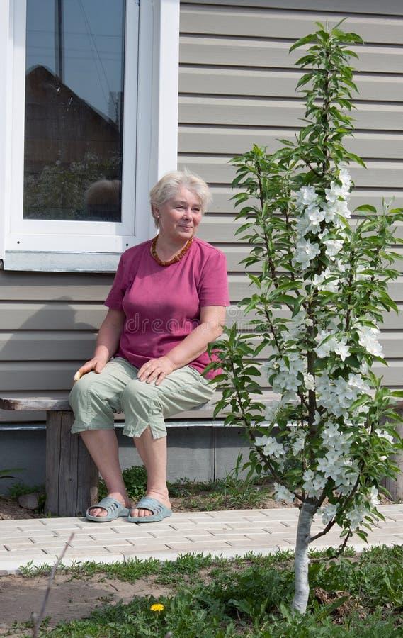 De vrouw bewondert tot bloei komende tuin stock foto