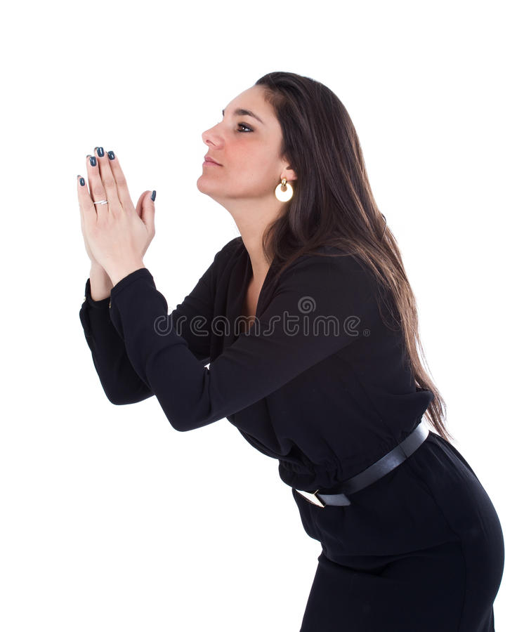 De vrouw bidt vergiffenis stock fotografie