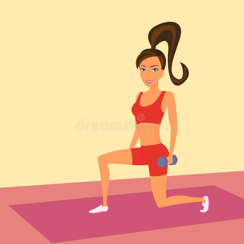 De vrouw bij de gymnastiek doet uitvalt oefening vector illustratie