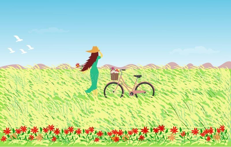 De vrouw in blauwe rok die een hoed met een fiets dragen die zich op een gebied met riet bevinden bloeit royalty-vrije illustratie