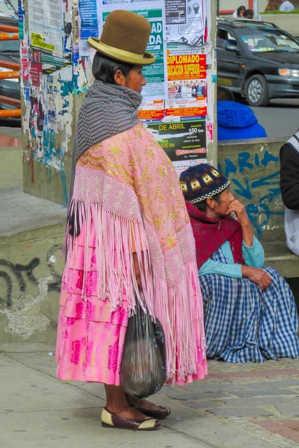 De vrouw Cholita van Bolivië stock foto's