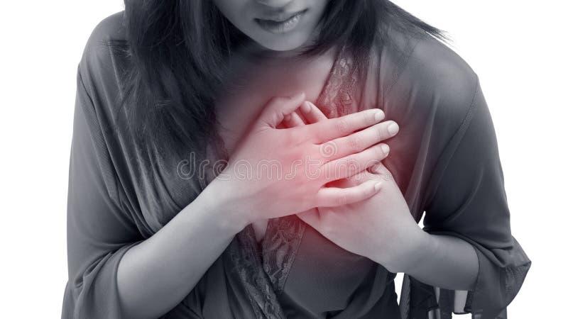 De vrouw clutching haar borst, scherpe pijn mogelijke hartaanval royalty-vrije stock afbeeldingen