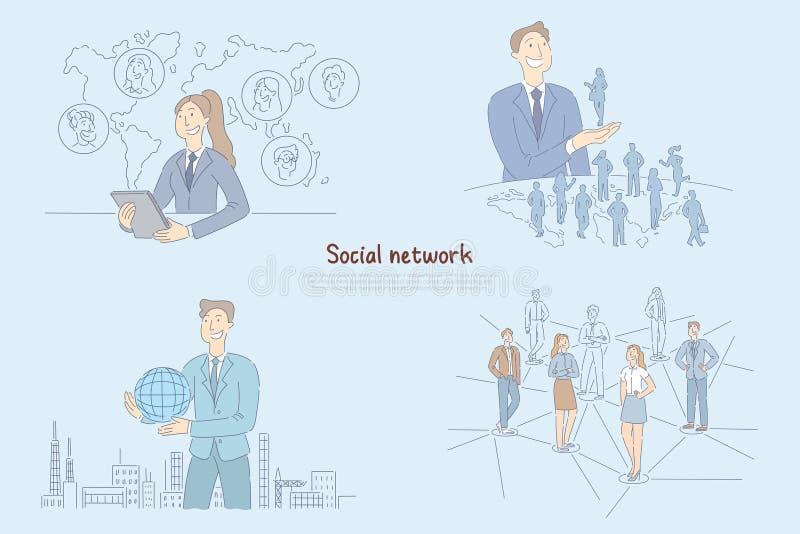 De vrouw die bedrijfsvraag online op tablet, globale mededeling in moderne wereld hebben, mensen verbond aan World Wide Web vector illustratie