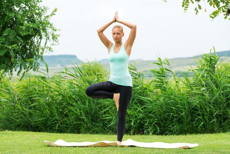 De vrouw die de yoga van boomvrksasana doen stelt stock afbeelding