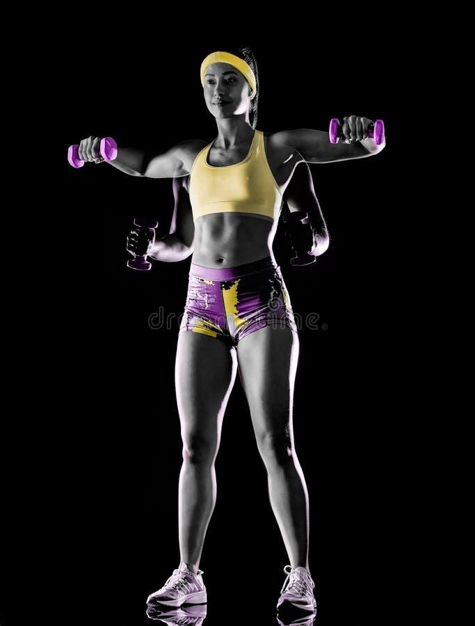 De vrouw die geschiktheidsoefeningen uitoefenen isoleerde zwart lightpainting effect als achtergrond stock afbeeldingen