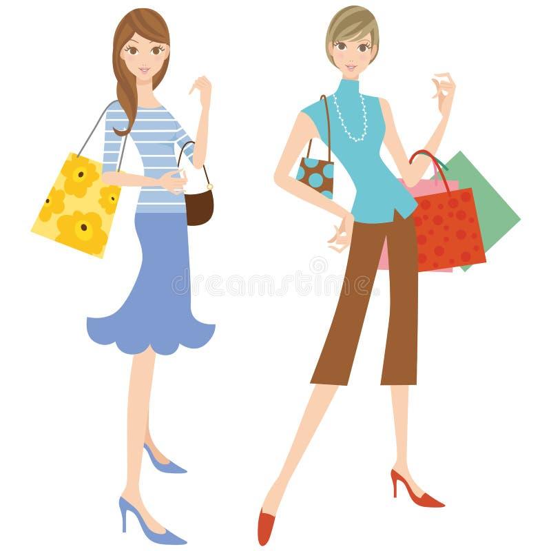 De vrouw die het winkelen doet stock illustratie