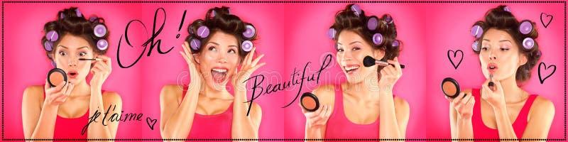 De vrouw die make-up, lippenstift, mascara toepassen, bloost stock foto