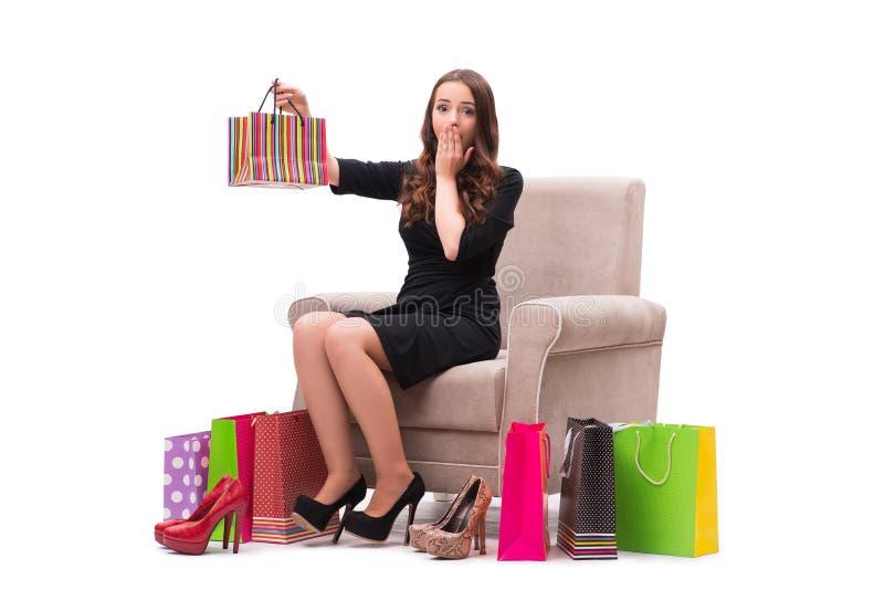 De vrouw die nieuwe schoenen ontvangen zoals huidig royalty-vrije stock fotografie