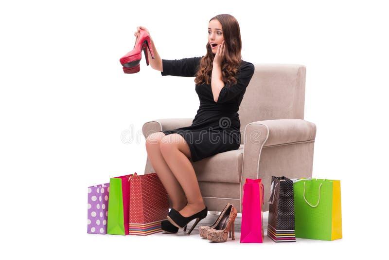 De vrouw die nieuwe schoenen ontvangen zoals huidig stock afbeelding