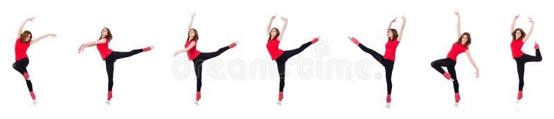 De vrouw die oefeningen op wit doen stock fotografie