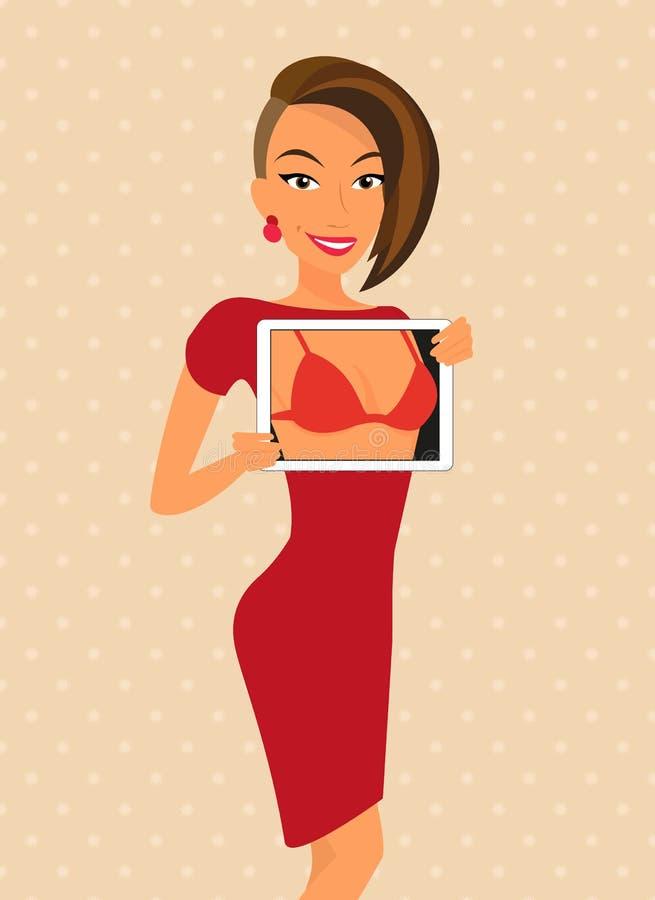 De vrouw die rode kleding dragen flirt gebruikend tablet vector illustratie