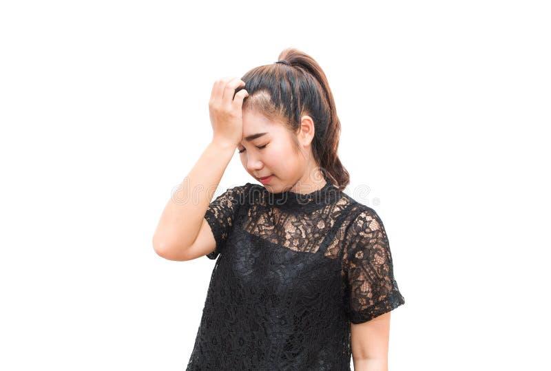 De vrouw die van Azië hoofdpijn hebben stock foto's