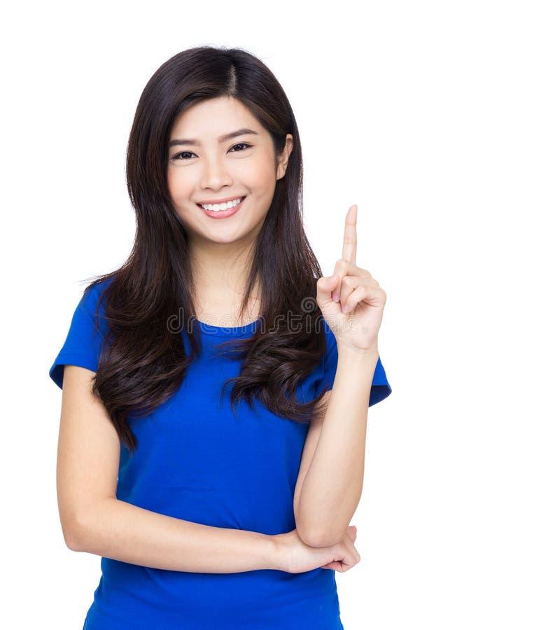 Download De Vrouw Die Van Azië Met Haar Vinger Benadrukken Stock Afbeelding - Afbeelding bestaande uit vinger, meisje: 39100395