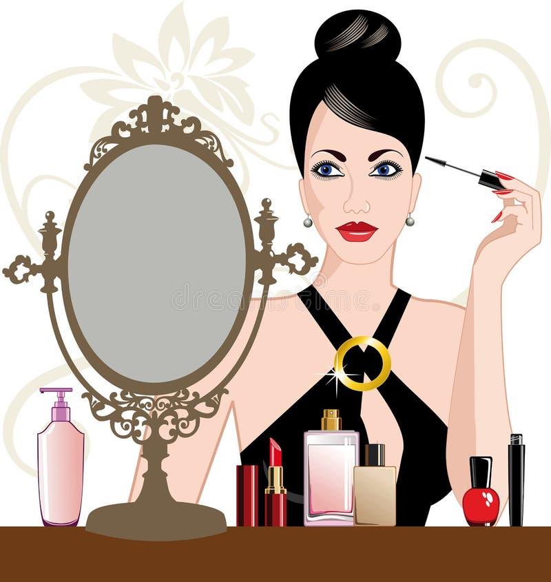 De vrouw die van de aantrekkingskracht make-up toepast stock illustratie
