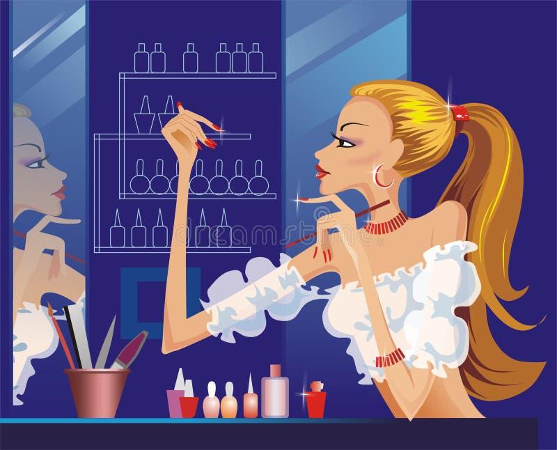 De vrouw die van de illustratie haar manicure doet royalty-vrije illustratie