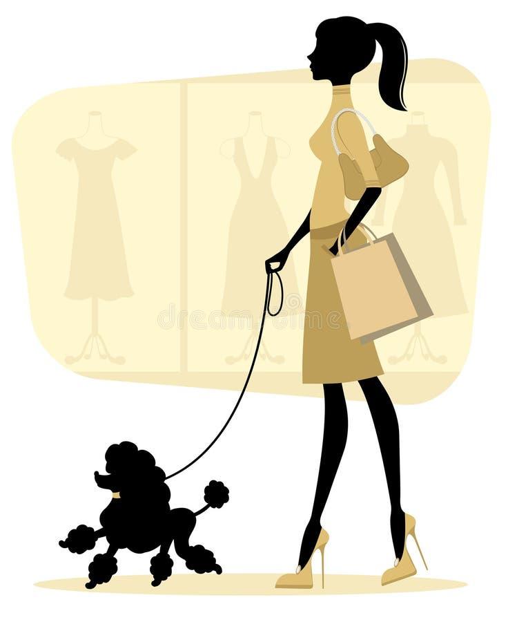 De vrouw die van het kuiken met haar poedel winkelt vector illustratie