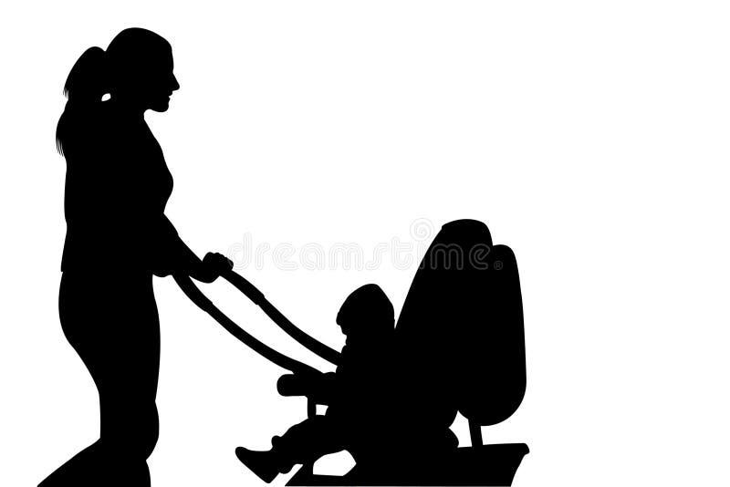 De vrouw die van het silhouet met kinderwagen loopt stock illustratie