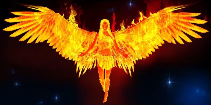 De vrouw die van Phoenix in ruimte vliegen royalty-vrije illustratie