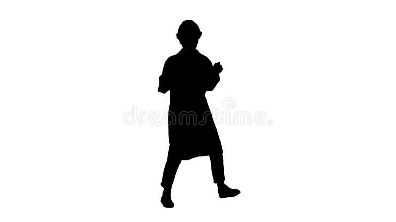 De vrouw die van de silhouetingenieur op grappige manier dansen stock illustratie