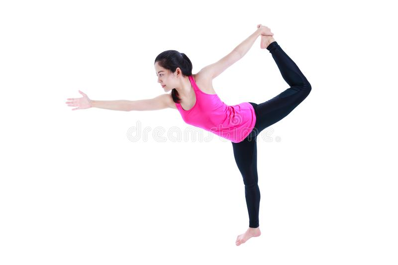 De vrouw die yoga in bevindende halve boog doen stelt of Utthita Ardha Dhan royalty-vrije stock afbeelding