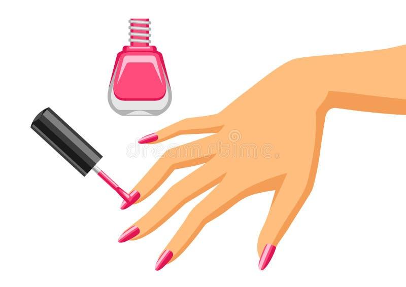 De vrouw doet manicure stock illustratie