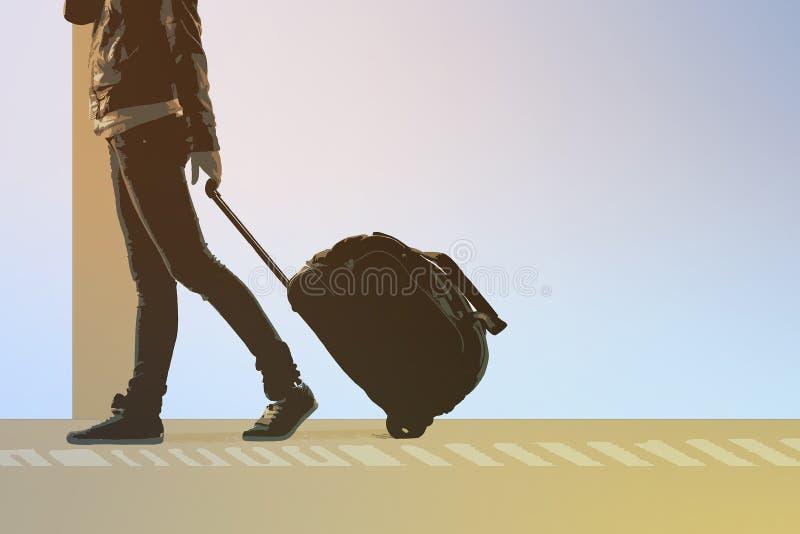 De vrouw draagt uw bagage bij de luchthaventerminal royalty-vrije illustratie