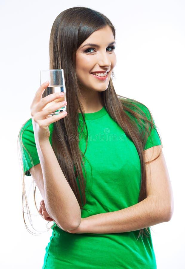 De vrouw drinkt water royalty-vrije stock afbeeldingen
