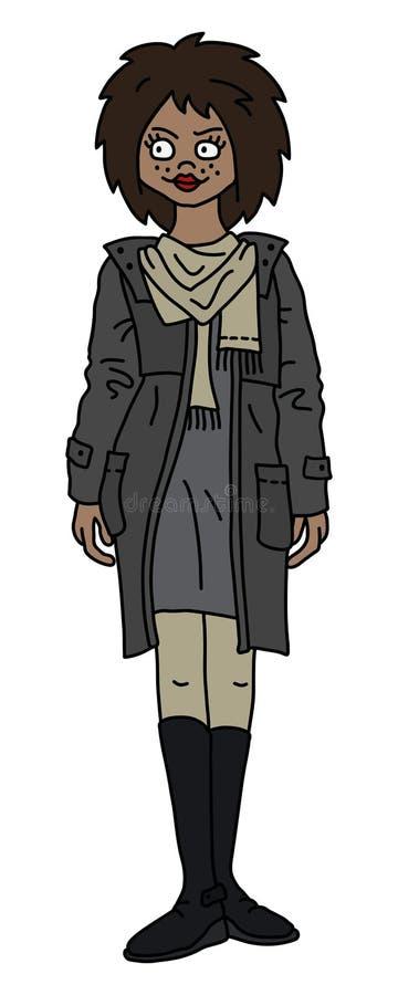 De vrouw in een grijze laag stock illustratie