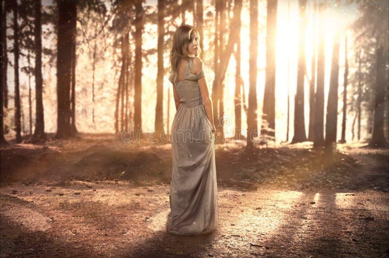De vrouw in een kleding bevindt zich op een mystieke open plek royalty-vrije stock fotografie