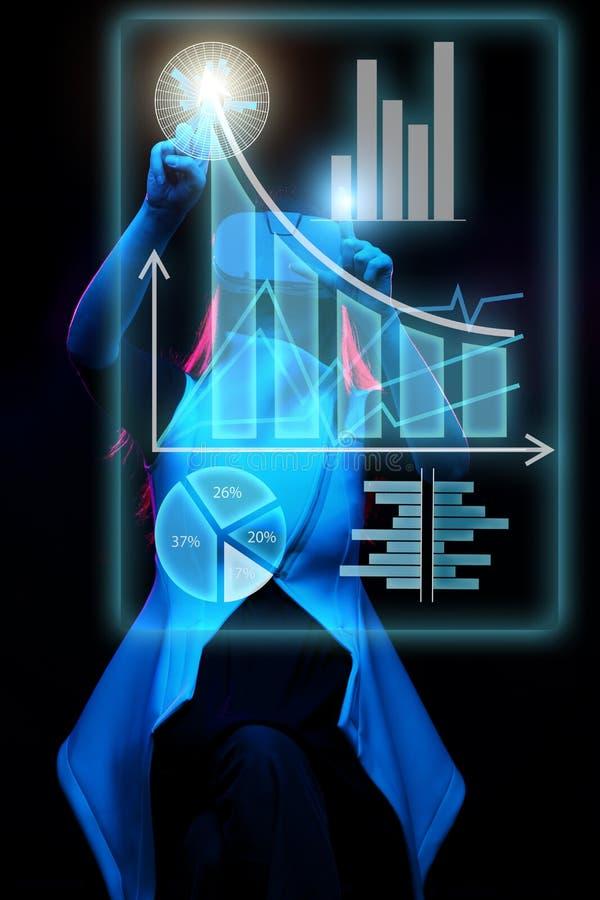 De vrouw gebruikt een virtuele werkelijkheidshoofdtelefoon om met gegevens in de vorm van grafieken en grafieken te werken royalty-vrije stock afbeelding