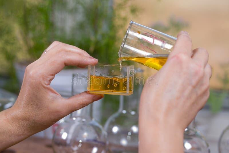 De vrouw giet een daling van vloeistof in een fles royalty-vrije stock afbeelding