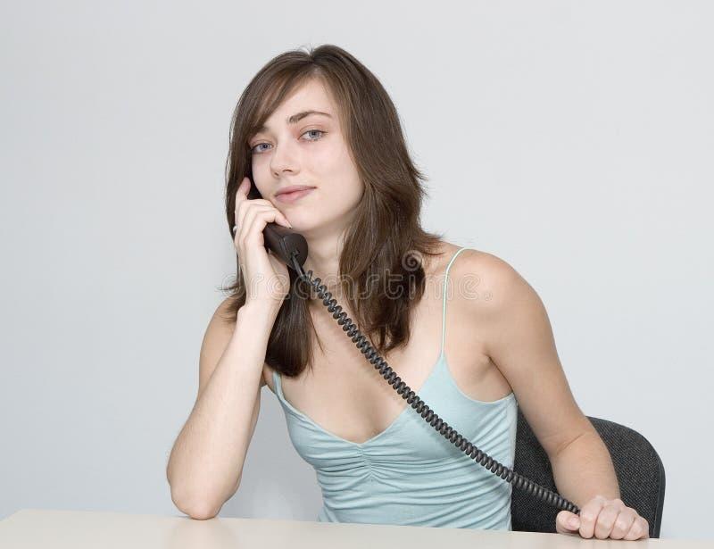 De vrouw. Telefoongesprek. royalty-vrije stock afbeelding