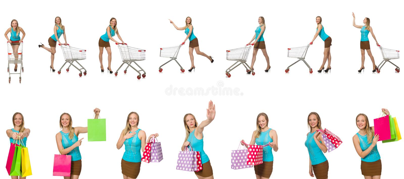 De vrouw in het winkelen concept stock foto's