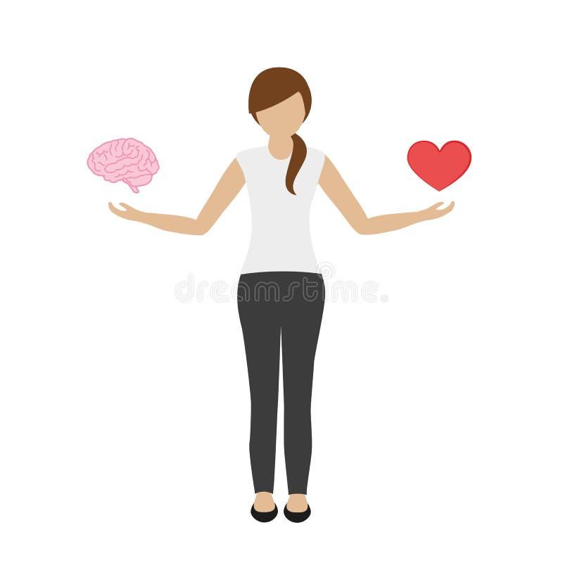 De vrouw houdt hersenen in één en hart in de andere hand vector illustratie