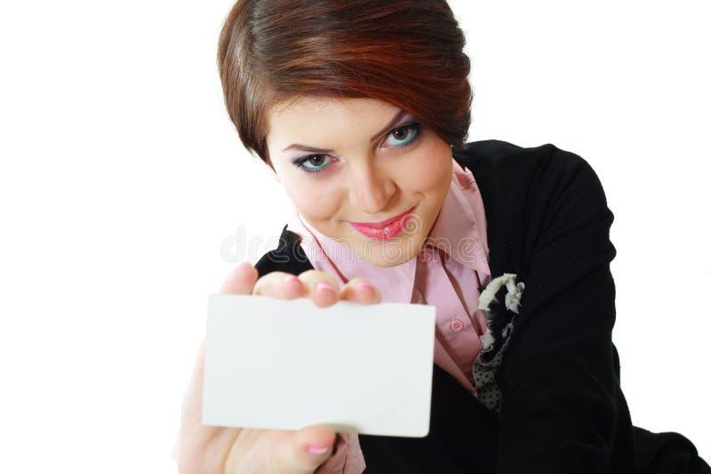 De vrouw houdt kaart royalty-vrije stock afbeeldingen